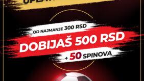 Top Bet kladionica daje dodatnih 500 dinara na uplatu prvog depozita!